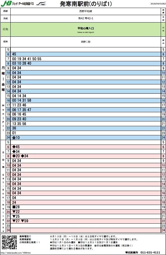 発寒南駅発 バス時刻表