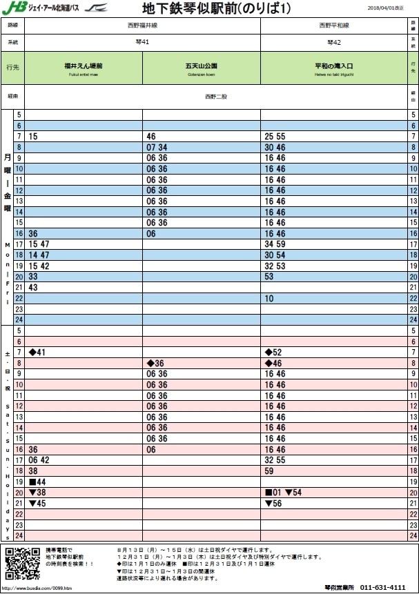 地下鉄琴似駅 バス時刻表
