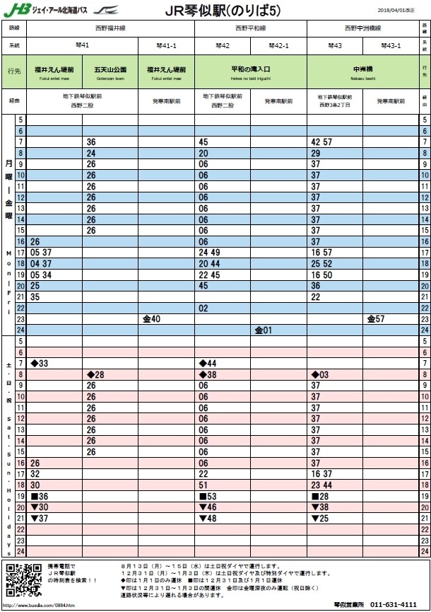 JR琴似駅 バス時刻表