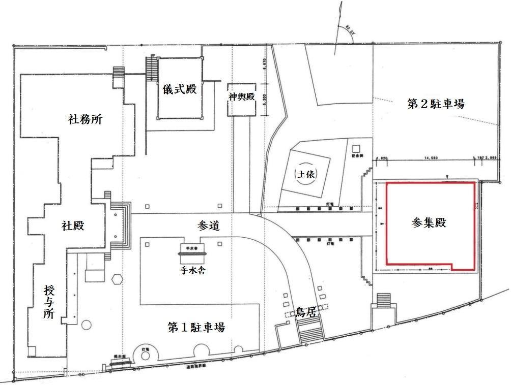西野神社参集殿 配置図