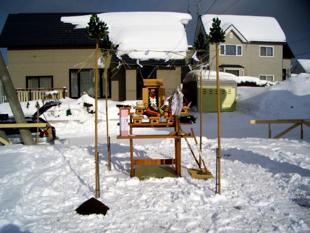 冬季の地鎮祭 祭壇全景