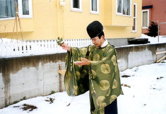 冬季の地鎮祭 四方祓い